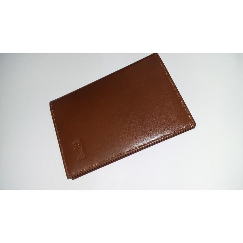 Обложка на паспорт из натуральной кожи BOND коричневая гладкая   - фото 1